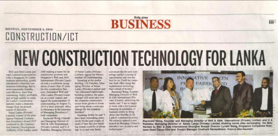 """WELL AND ABLE WORLDWIDE INTEGRATION Sri Lanka Newspaper report """"Daily News Business section"""""""